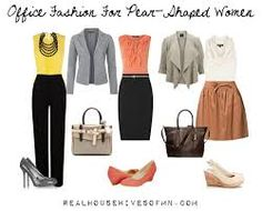 PEAR: (1) dark bottom; bright top with details (2) fitted jacket, top with ruffles/details (3) top with bulk, A-line skirt