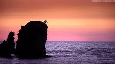 diving gifs | ... sunset free wild splash nature gif dusk dive cliff diving sunset gif