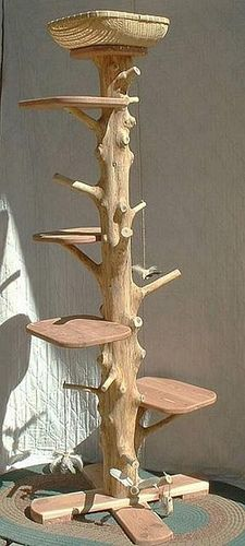 Neat cat tree.  I like the no clean up approach & the pallet style shelves.