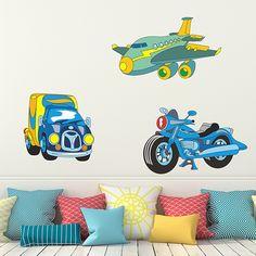 Adesivi per bambini: avión, auto e camion Adesivi murali bambini a kit. #adesivimurali #decorazione #modelli #mosaico #transporte #StickersMurali
