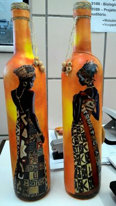 Pasta Ivete Glass Bottle Crafts, Wine Bottle Art, Diy Bottle, Bottles And Jars, Plastic Bottles, Glass Bottles, Wine Glass, Baby Food Jar Crafts, Recycled Bottles
