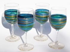 Hand Painted Wine Glasses- Green, Teal,  Blue and Copper Swirl- Set of 4 In Stock. $80.00, via Etsy.