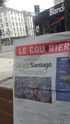 En Ginebra... vengo a trabajar y la tapa de uno de los principales diarios de la ciudad me pregunta : Donde esta Santiago Maldonado? #BellyDancingMusic