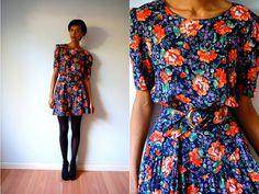 Vtg Retro Orange Floral Printed Navy Belted Dress by LuluTresors, $29.99
