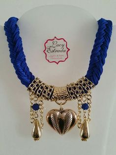 #Collar #azul rey #trenza