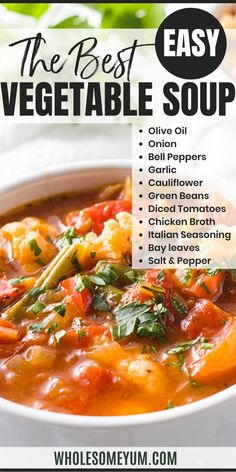 The best vegetable soup recipe ever, ready in 30 minutes! If you want to know how to make healthy vegetable soup or keto low carb vegetable soup, this one checks all the boxes. Whether you're looking for a weight loss soup or just something to warm you up this winter, this easy low carb vegetable soup recipe will hit the spot! It's naturally keto friendly, paleo, has a vegan option, and is just all-around healthy no matter your way of eating. #Wholesome Yum Best Vegetable Soup Recipe, Low Carb Vegetable Soup, Keto Diet For Beginners, Recipes For Beginners, Weight Loss Soup, Keto Food List, Vegan Options, Italian Seasoning, Keto Recipes