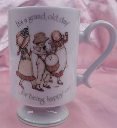 Holly Hobbie Porcelain Mug Japan Its A Grand Old Day for Being Happy Japan 1974 | eBay