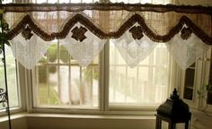 Here is a SUPER FANCY beautiful HANDMADE curtain valance. It is handmade with Antique style vintage hand crochet French ROSE white lace and rustic BURLAP with tattered vintage lace& burlap ROSETTE! Victorian French shabby rustic chic, Old time charm. Beautiful quality hand craft. Bring back old time memory...Disappearing with time goes...Ideal as a FRENCH COUNTRY or VICTORIAN farmhouse valance cafe curtain. Base color is white and natural burlap.  **Burlap fabric is pre-handle before make…