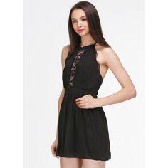 SheIn(sheinside) Black Halter Sleeveless Lace Slim Dress (67 RON) ❤ liked on Polyvore