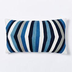 Crewel Optic Stripe Cushion Cover - Slate