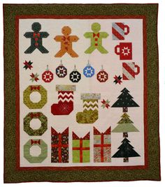 Deckade the Halls, 2014 raffle quilt, Westside Quilters Guild (Oregon). Made by Marcia Elliott, pattern by Fat Quarter Shop, quilted by Marci Yoder.