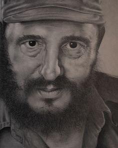 Fidel Castro II, retrato a lápiz Fº Javier Cerezo