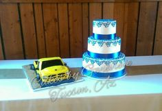 Dodge truck grooms cake and a royal blue lace wedding cake