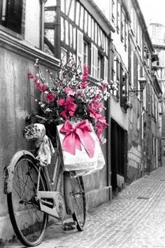 pink flowers and bow...
