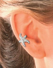 Fun Starfish Ear Cuff - reminiscent of the Seaside & Summer. Hand carved & cast using the Lost Wax Method. Sterling Silver Starfish. Also available in Gold Vermeil (Gold over Sterling Silver) © Ear Charms Inc™. / Sandra Callisto designer IF YOU WANT A PAIR PLEASE ORDER A LEFT & A RIGHT.  THANK YOU, Sandra