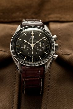 Vintage Omega Speedmaster Professional. Pre-moon. Ref. 145.012-67. Cal. 321 movement. Replacement bezel. Hirsch Leonardo Genius alligator strap. (Click on photo for high-res. image.) Photo found here: http://www.flickr.com/photos/shanelin/6804319826/in/set-72157621989765223
