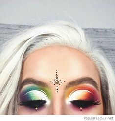 Colorful eye makeup and white hair