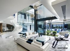 U Shaped Modern Family Home by SAOTA  luxery contemporary interior living room