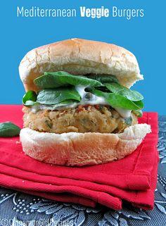 Mediterranean Veggie Burgers w/ Lemon- Caper Mayo