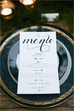menus with arrow accents Wedding Menu, Wedding Stationary, Wedding Wishes, Wedding Paper, Wedding Signs, Garden Wedding, Wedding Planning, Dream Wedding, Wedding Invitations