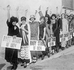 Wampas Baby Stars of 1924. Posing left to right: Clara Bow; Blanche Mahaffrey; Elinor Fair; Gloria Grey; Carmelita Geraghty; Julane Johnston; Dorothy Mackaill; Hazel Keener; and Marion Nixon.