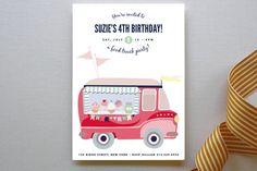 Kids Party Invitations by Phrosn. Food Truck Party, Food Truck Events, Food Trucks, 3rd Birthday Parties, 4th Birthday, Party Invitations Kids, Invites, Invitation Cards, Party Themes