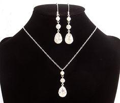 PHILBERTA, Swarovski Crystal and Pearl Bridal Jewelry SET, Teardrop Rhinestone Wedding Jewelry Set, Bridal Lariat Necklace and Earrings