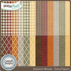 Autumn Woods - Digital Scrapbook  Extra Papers. $2.50 at Gotta Pixel. www.gottapixel.net/