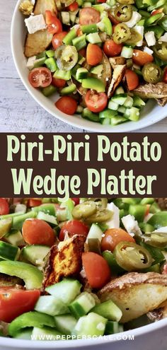 Potato wedge platters are one of those quick-to-make sides where the taste way outpaces the effort. And we love this one a ton: this piri-piri potato wedge platter pairs African bird's eye pepper, pickled jalapeños, and a whole slew of fresh mixed vegetables with those delicious potato wedges. #piripiri #potatowedge #potatowedgeplatters #piripiripotato Quick Potato Recipes, Potatoe Casserole Recipes, Side Dish Recipes, Potato Side Dishes, Vegetable Side Dishes, Vegetable Recipes, Spicy Steak, Steak And Seafood, Spicy Vegetarian Recipes