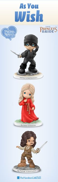 """As you wish! All your favorite characters from """"The Princess Bride"""" are here to bring a smile to your face. This officially-licensed Precious Moments tribute relives the comedy, adventure and romance of your favorite film in heartwarming style. Featuring each character's name on the base and other unforgettable touches, you won't want to miss this!"""