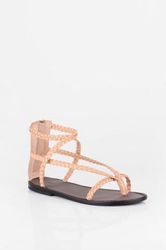 Joie McCartney Braided Leather Flat Sandals in Chamois $97 at www.tobi.com