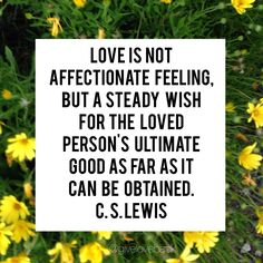 Love is not  affectionate feeling,  but a steady wish  for the loved  person's ultimate  good as far as it  can be obtained.  C. S. Lewis