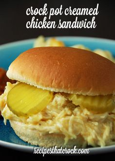 Feeding a crowd? Check out this Crock Pot Creamed Chicken Sandwich recipe. It is… Feeding a crowd? Check out this Crock Pot Creamed Chicken Sandwich recipe. It is a snap to throw together and makes around 24 sandwiches! Crock Pot Food, Crockpot Dishes, Crock Pot Slow Cooker, Slow Cooker Recipes, Cooking Recipes, Crockpot Meals, Soup Recipes, Dinner Recipes, Shredded Chicken Sandwiches