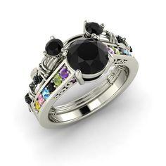 Disney inspired Black Diamond Bridal Set / Mickey Mouse Ring in 14K White Gold