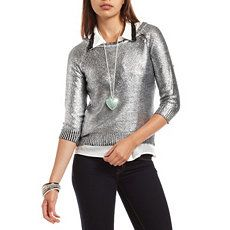 3/4 Sleeve Foiled Sweater at Charlotte Russe