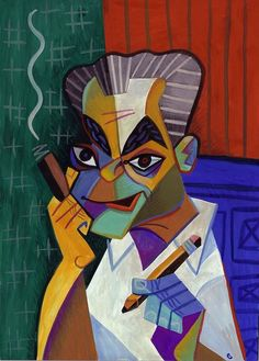 Jack Kirby, illustration by David Cowles (caricature) http://masterpaintingnow.com/how-to-draw-everything?hop=dunway
