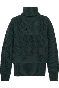MM6 Maison Margiela - Cable-knit Wool-blend Sweater - Forest green