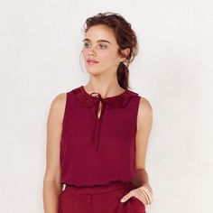 Women's LC Lauren Conrad Faux-Suede Collar Tank