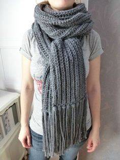 Echarpe XXL en côte anglaise - tuto tricot - aiguille 7 Knitted Cape, Knitting Accessories, Knit Crochet, Textiles, Sewing, Style, Bonnets, Images, Ainsi