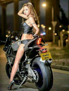 Just stuff I like. Girls and bikes. Lady Biker, Biker Girl, Motard Sexy, Hot Girls, Chicks On Bikes, Motorbike Girl, Scooter Girl, Biker Chick, Asian Girl