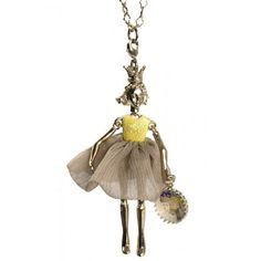Girl with a yellow top and taupe skirt pendant by Servane Gaxotte. 3