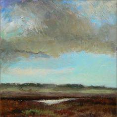 "Linda Fantuzzo Cloud Waiting, acrylic on panel, 40 x 40"", 2009, signed"