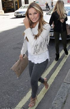 On Saturday, the stunning star was sporting a chic beige fringed suede jacket with a floaty white camisole which masked her tiny baby bump Bump Style, Style Me, Billie Faires, Sam Faires, Fringe Jacket, Maternity Fashion, Going Out, Celebrity Style, Dress Up