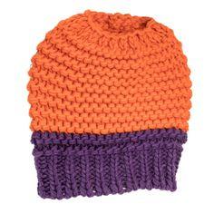 Knitted Bun Hat-Orange/Purple