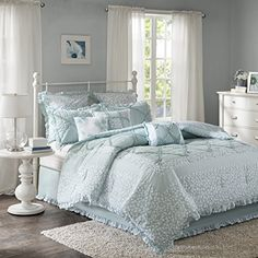 Mindy 9 Piece Cotton Percale Comforter Set Aqua Queen -- Learn more by visiting the affiliate link Amazon.com on image.