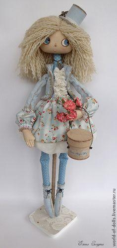 Купить Амели- Интерьерная кукла - голубой, кукла ручной работы, кукла, кукла в подарок