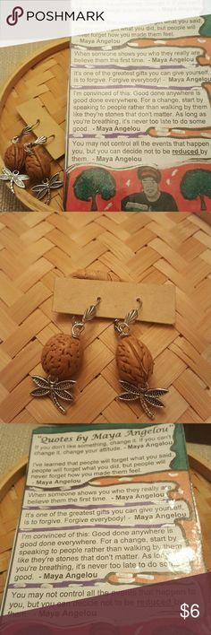 Peach pits fire flies charms earrings Peach pits fire flies charms earrings.   Comes with free inspirational maya Angelo refrigerator/ office desk magnet. Jewelry Earrings