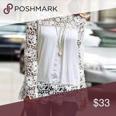🎉 White Crochet Top ‼️🎉 Fun and flirty white top with crocheted hem. Size XL but I listed it as a large because it  fits more like a large. Super-cute with your favorite jeans. Tops Blouses