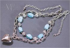 Howlite Gemstone Silver Heart Pendant Necklace | Melekdesigns - Jewelry on ArtFire