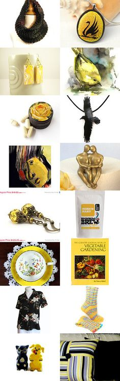 "From the ""Corner Coffee Shop"" team on Etsy.com,  the delightful treasury called ""Black and Yellow"" CLICK: https://www.etsy.com/treasury/MjExOTA0NTB8MjcyNDgwMTYzOQ/black-yellow?ref=pr_treasury"